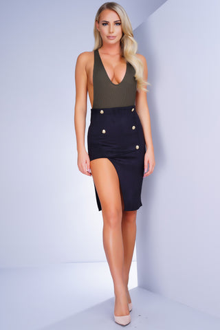 Banks Button Skirt - Black - WantMyLook