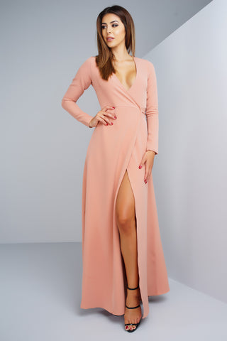 Yasmin Wrap Dress - Peach