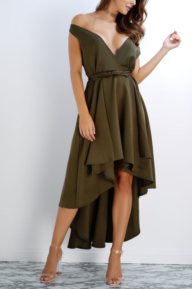 Rose Wrap Dress - Olive - WantMyLook