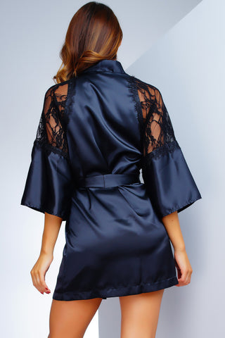 ARIKA SATO Lux Satin Robe - Black Lace