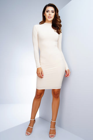 Esra Bodycon Midi Dress - Nude