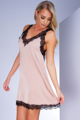 North Lace Trim Satin Slip - Pink