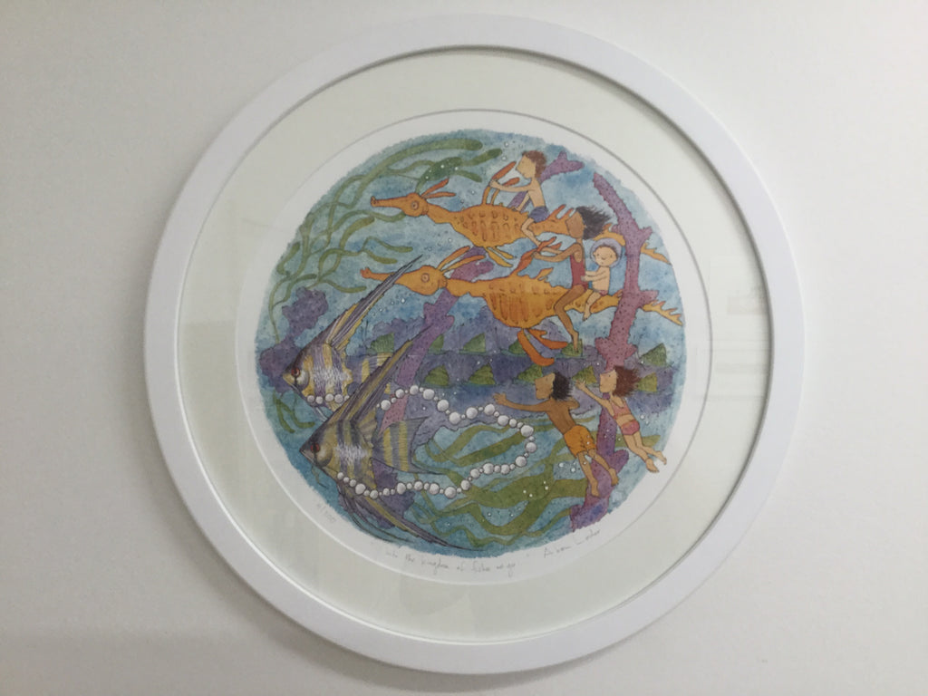 Into the kingdom of fishes we go - large framed circular