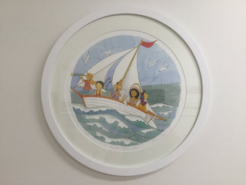 The wind fills our sails- large framed circular