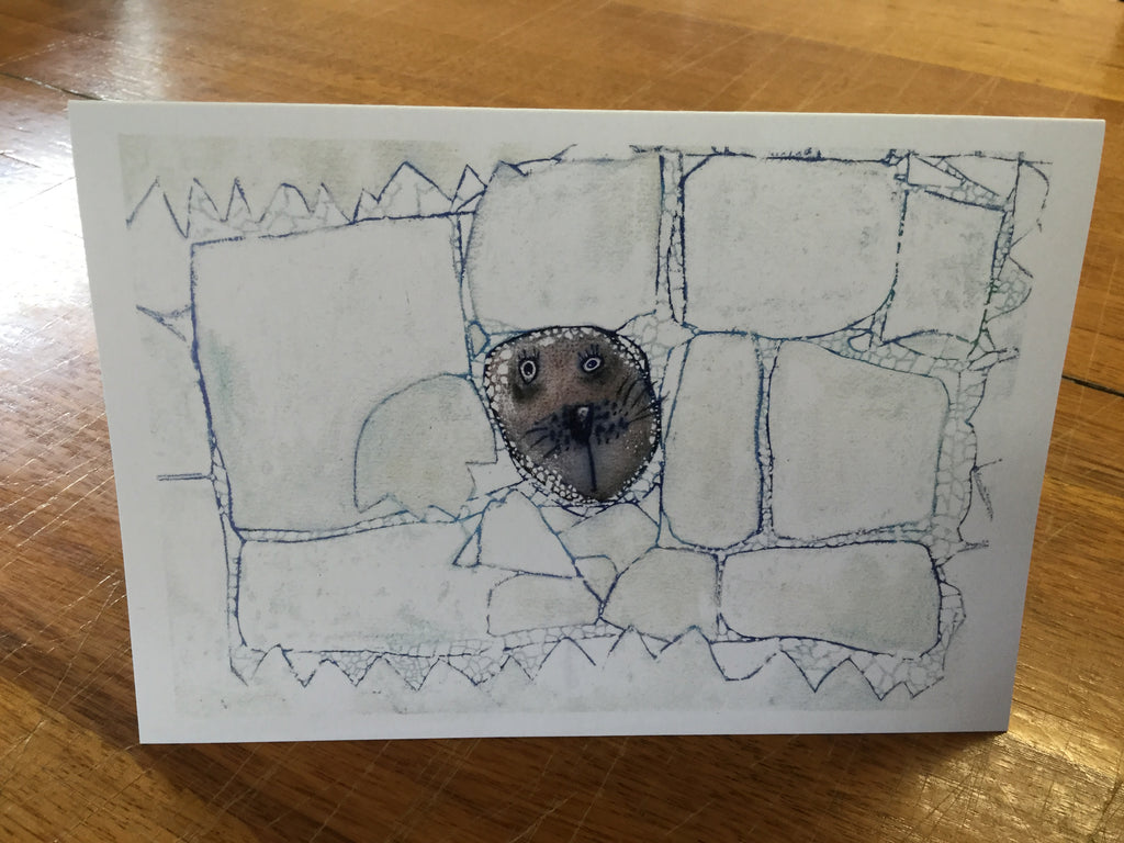 Seal poking its head through the ice card