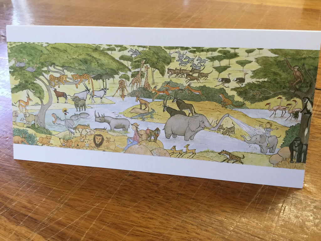 """Away on safari"" card"