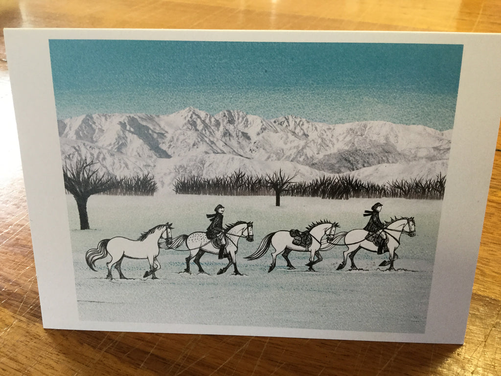 White Horses dancing on top of the World card