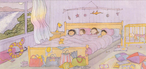 Magic Beach blank card '...The old bed is cosy and wide.'