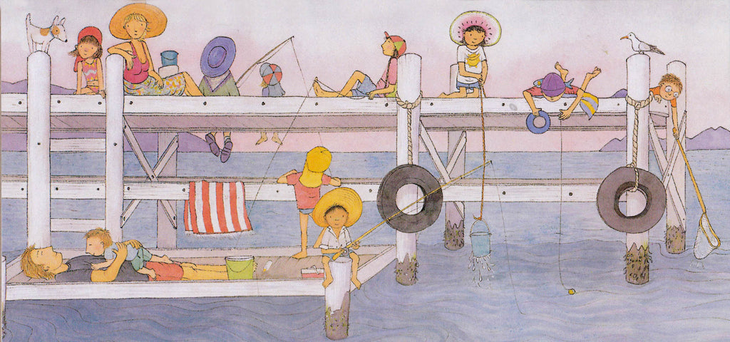 Magic Beach blank card '... We laze on the jetty and wait...'