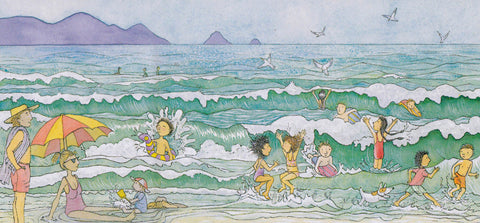 Magic Beach blank card '... We swim in the sparkling sea ...'