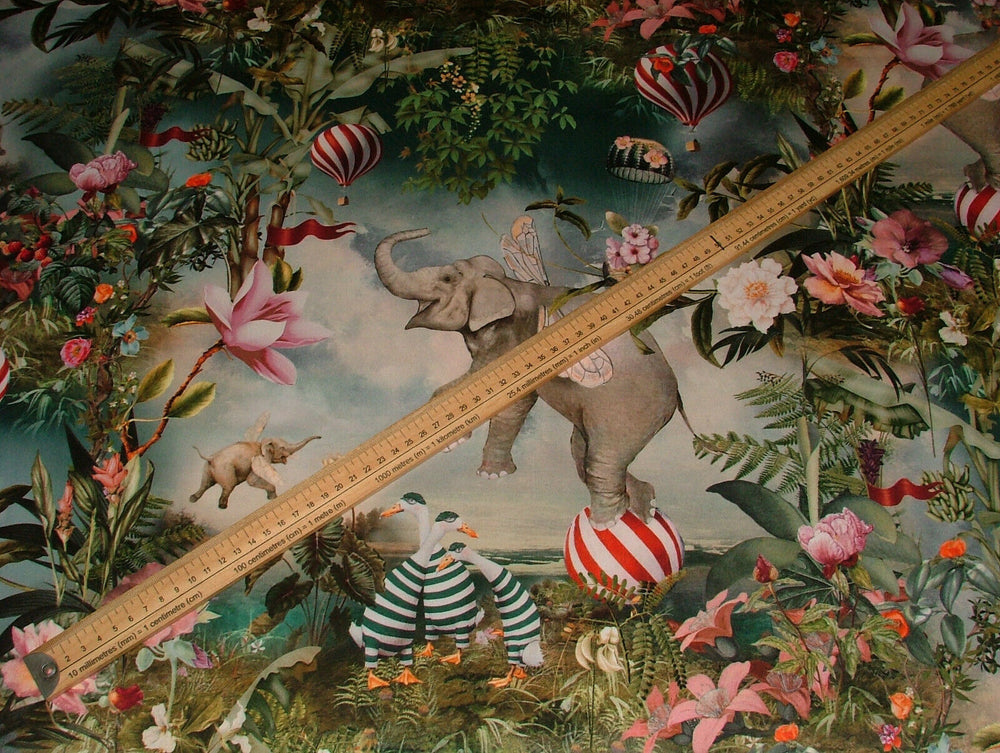 """Fantasy Flying Elephant"" Velvet Fabric Curtain Upholstery Cushion Roman Blind"