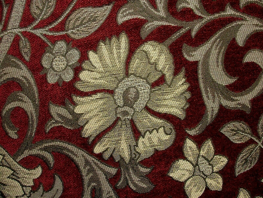 Chalfont Carmine Arts And Crafts Chenille Curtain Upholstery Cushion Use Fabric