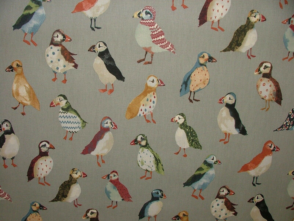 Puffin Birds Coastal Nautical Seaside Theme Cotton Curtain Upholstery Fabric