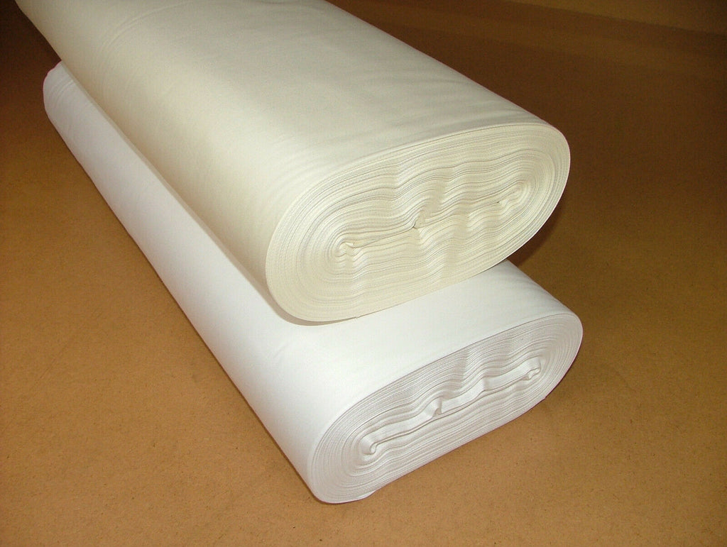 "50 Metres 100% Cotton Sateen ''Ivory Or White"" Curtain Fabric Lining 54"" Wide"