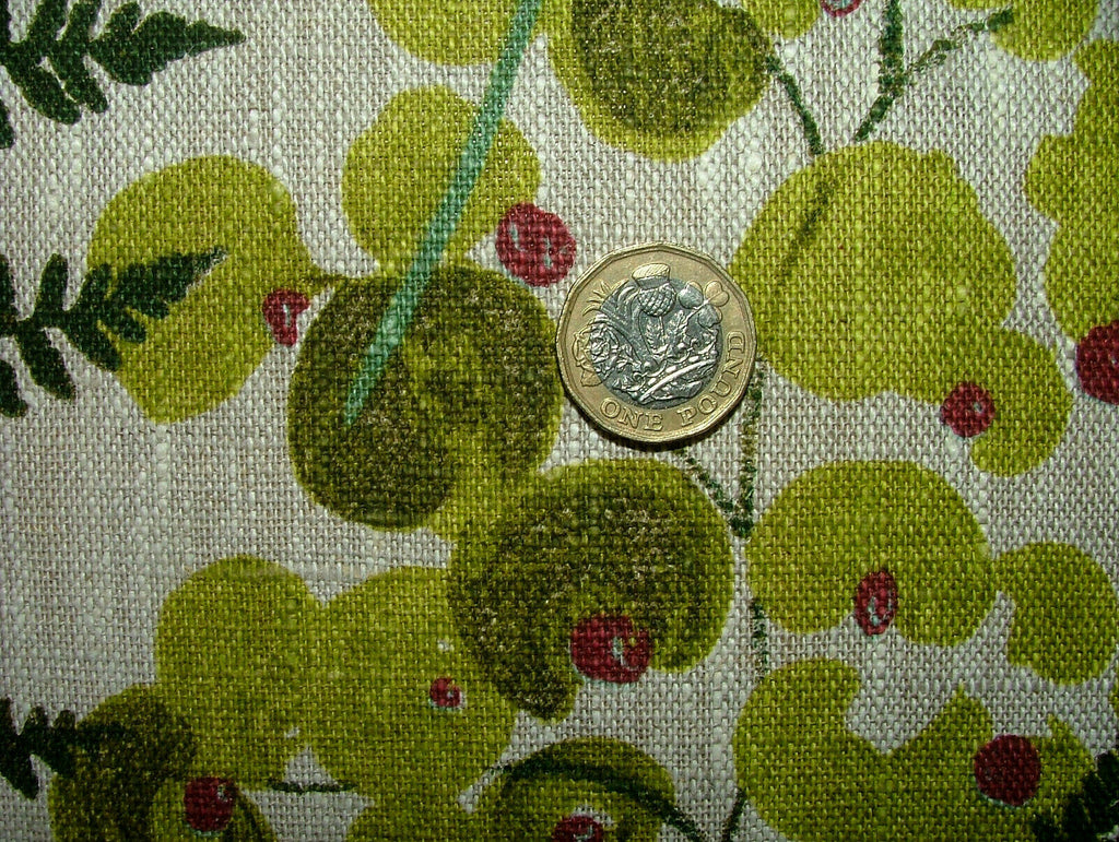 Brocéliande Forest Ferns French 100% Linen Fabric Curtain Cushion Upholstery