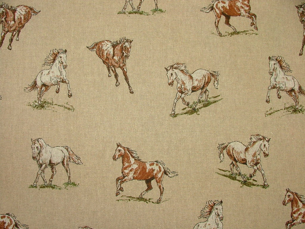 Mini Prints Horses Country Side Animals Linen Look Fabric Curtain Upholstery