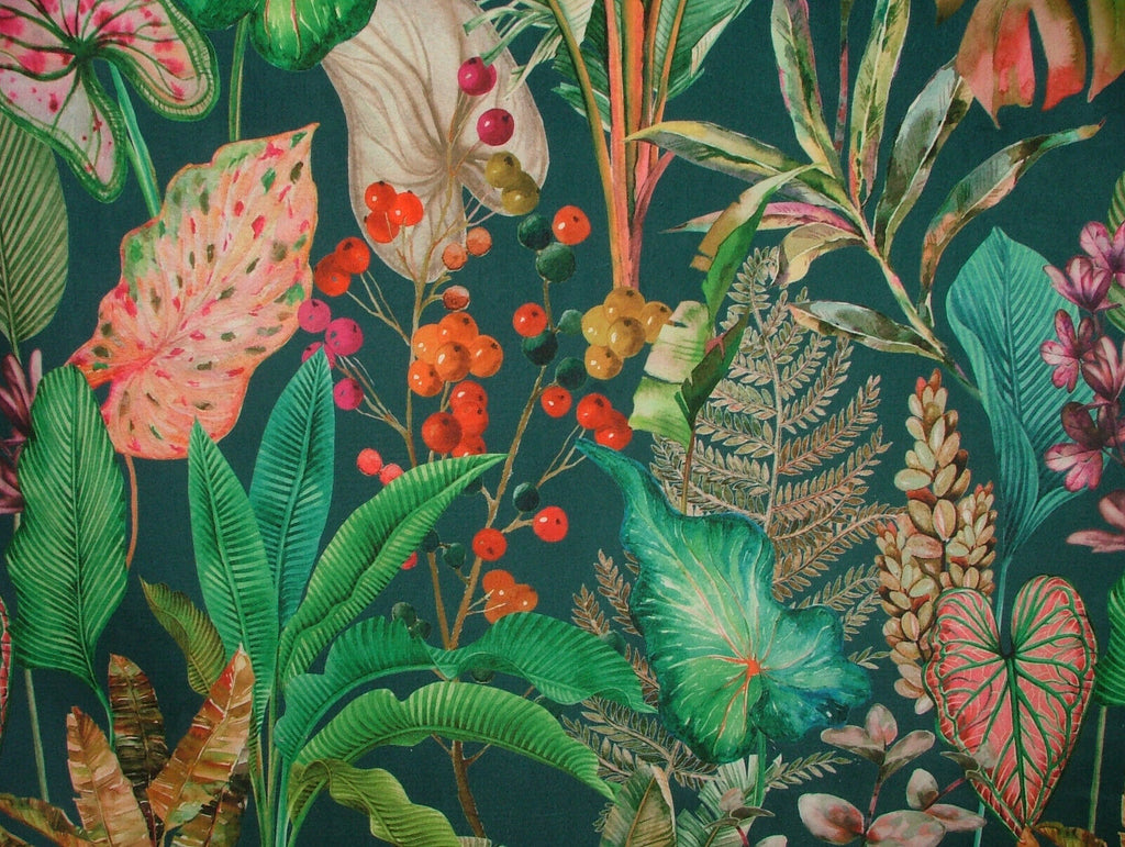 Tropical Palms And Plants Botanical Velvet Fabric Curtain Upholstery Cushion