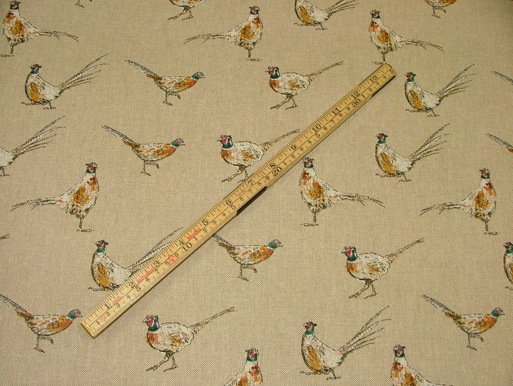 Mini Prints Pheasants Country Side Animals Linen Look Fabric Curtain Upholstery