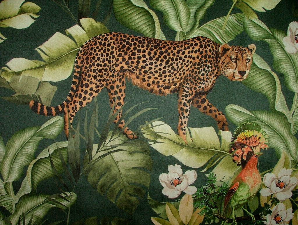 Leopard Botanical Tropical Jungle Green Velvet Curtain Upholstery Cushion Fabric