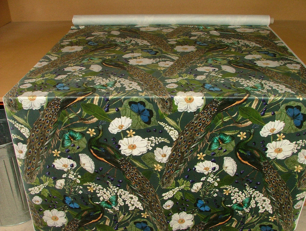 Peacock Butterflies Birds Botanical Curtain Upholstery Cushion Velvet Fabric