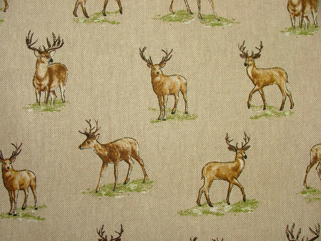 Mini Prints Stags Deer Country Side Animals Linen Look Fabric Curtain Upholstery