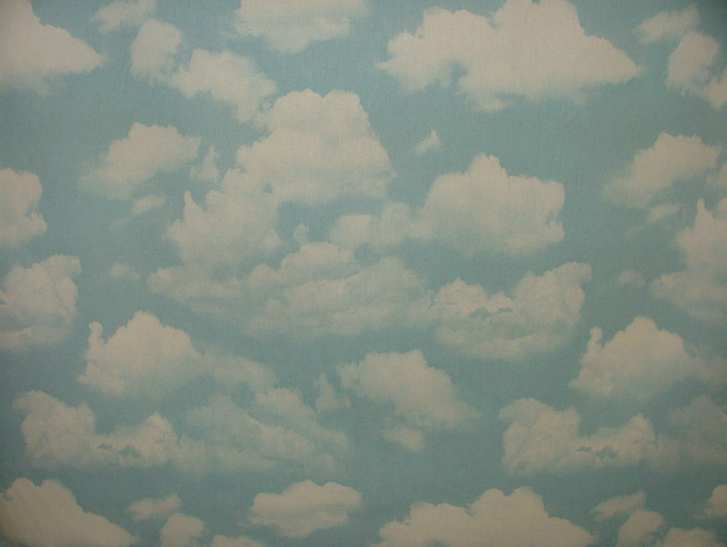 Sky Blue Cloud 100% Cotton Fabric - Curtain Upholstery Blinds Baby Nursery Use