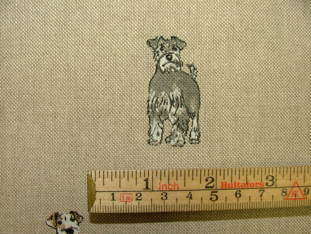 Mini Prints Dogs And Puppies Animals Linen Look Fabric Curtain Upholstery Blinds