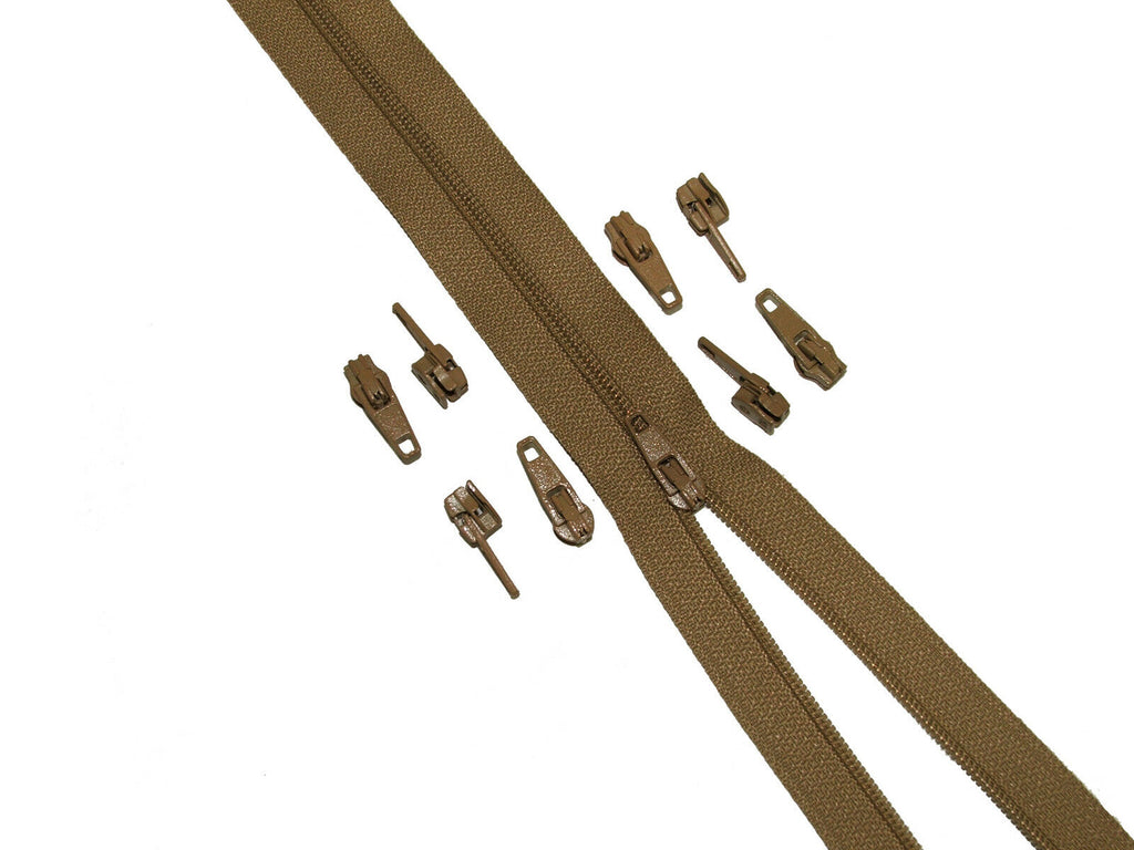 10 x Beige Zips Sliders / Toggles / Zipper Ends