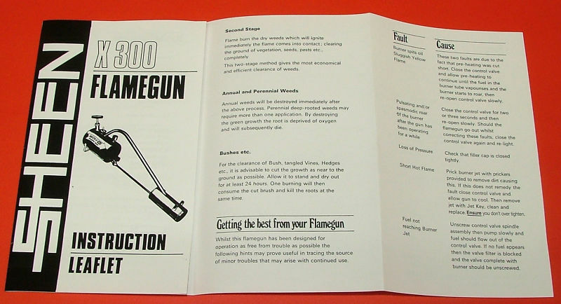 Sheen Flame Gun Flamgun Spare Part - Instructions