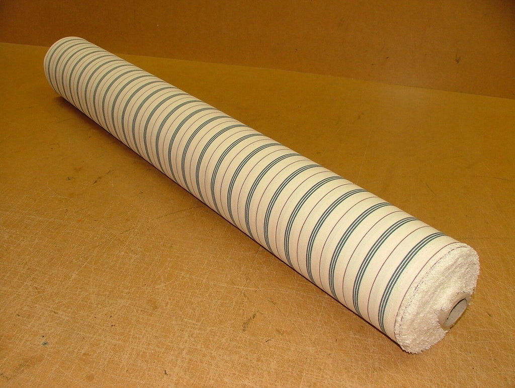 Blue Berry Cream COTTON CANVAS French Ticking Fabric Extra Wide Width 214cm