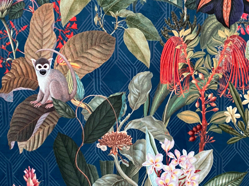 Blue Tropical Monkey Botanical Curtain Upholstery Cushion Velvet Art Deco Fabric