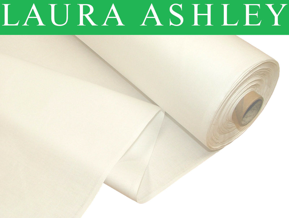 """Laura Ashley"" White 100% Cotton Sateen Curtain Lining Fabric SOLD BY THE METRE"