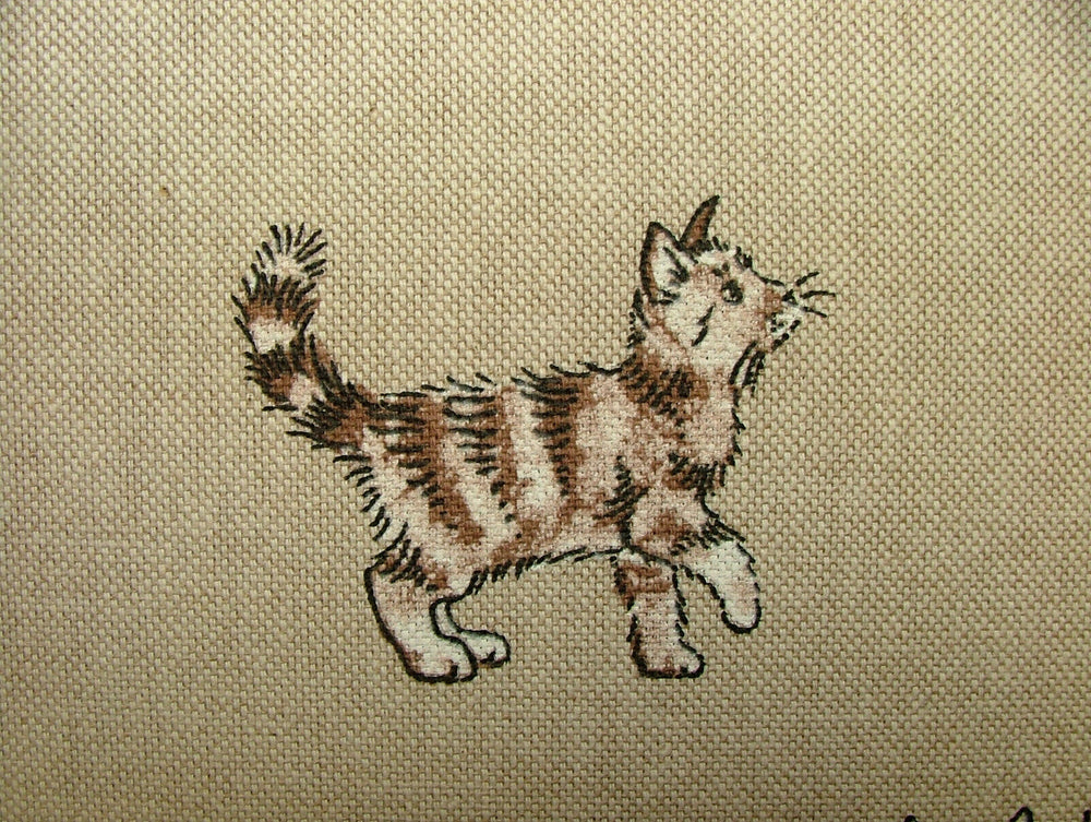 Mini Prints Cats And Kittens Animal Linen Look Cat Fabric Curtain Upholstery