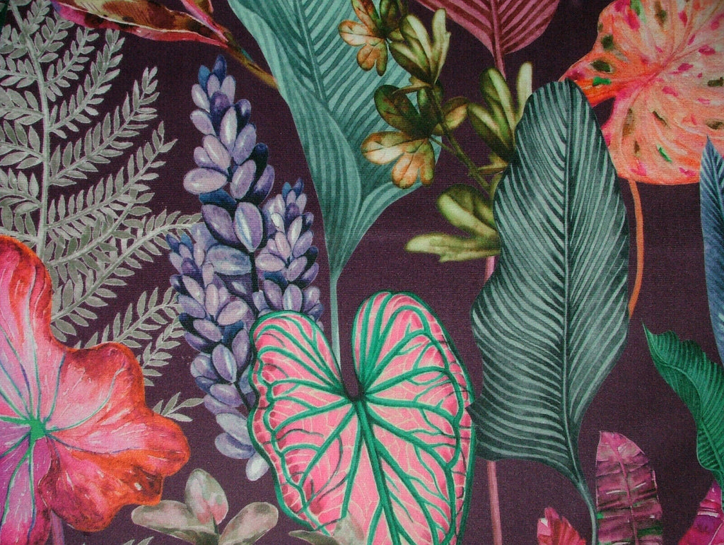 Purple Tropical Palms Plants Botanical Velvet Fabric Curtain Upholstery Cushion