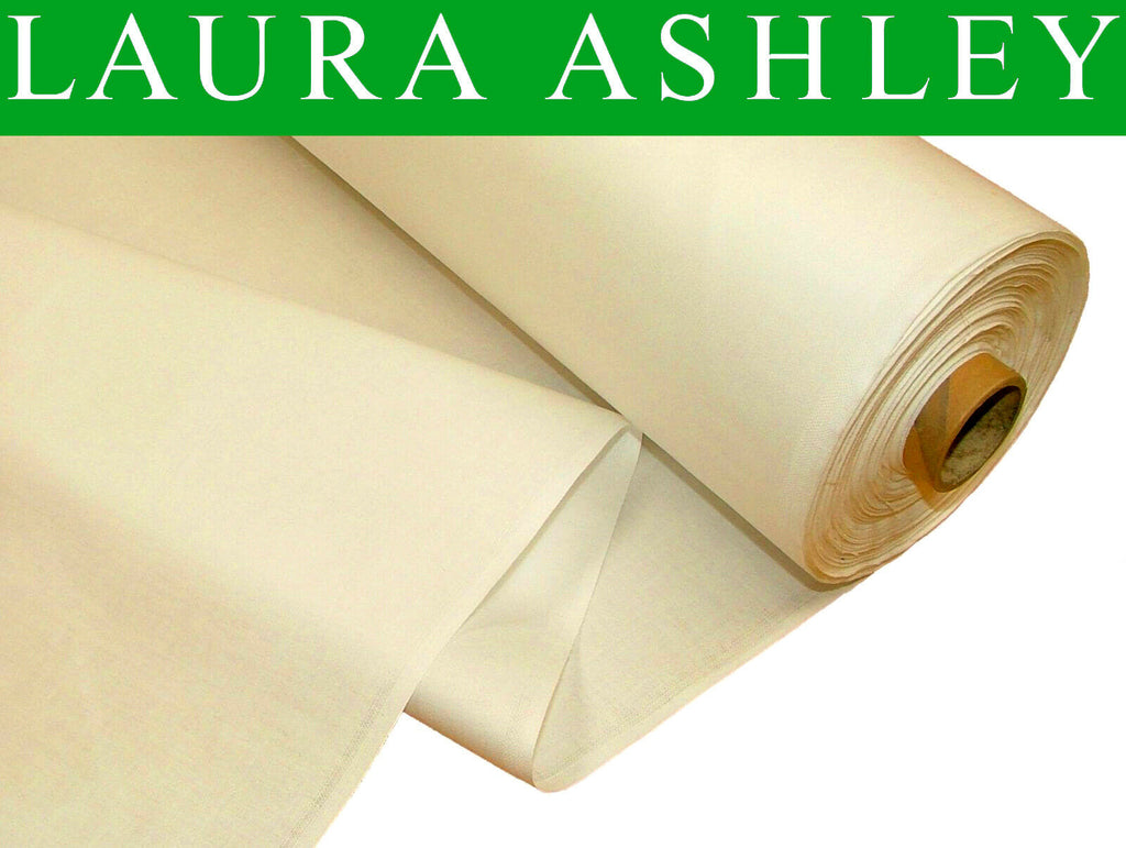 "60 Metres ""Laura Ashley"" Cream 100% Cotton Sateen Curtain Lining Fabric"