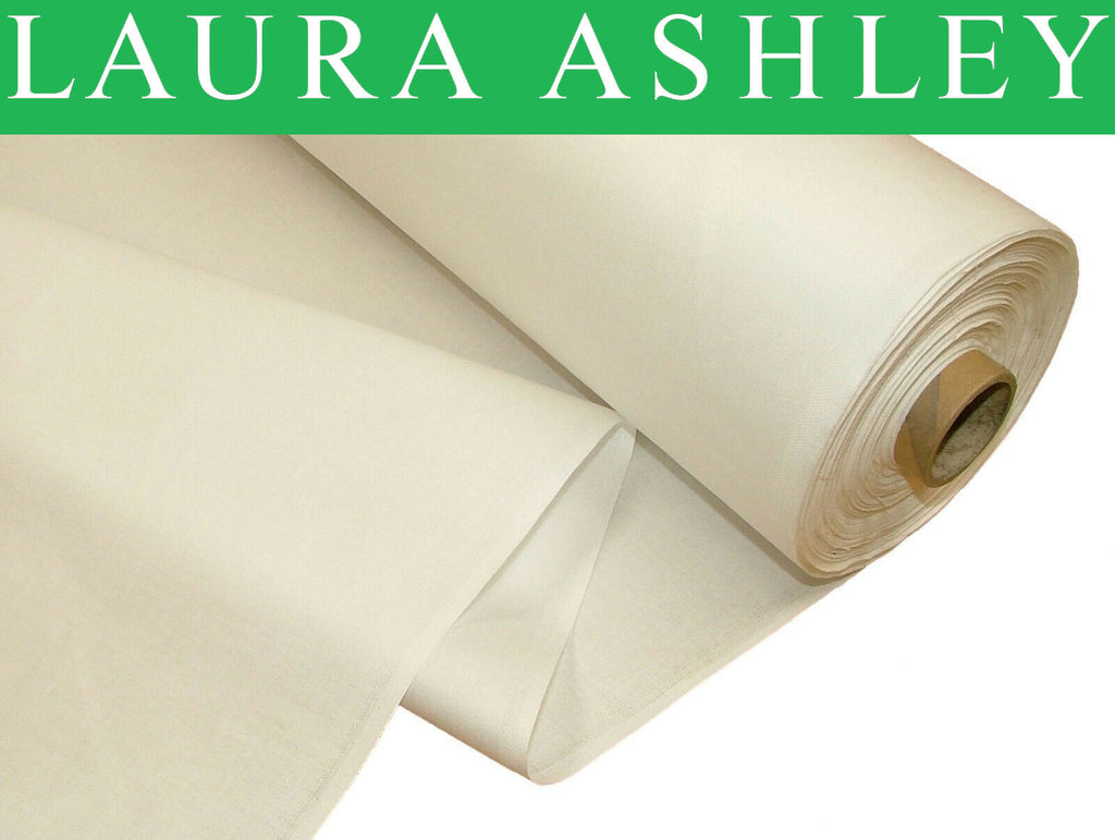 """Laura Ashley"" Ivory Cream 100% Cotton Sateen Curtain Lining Fabric"