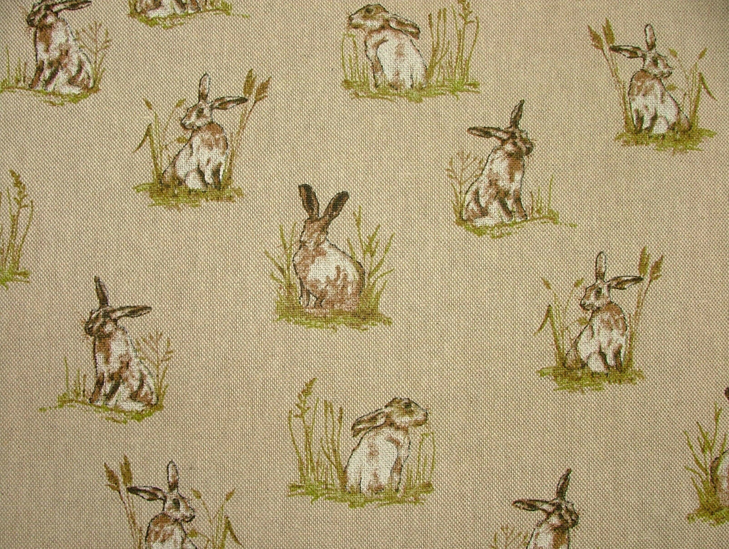 Mini Prints Hares Country Side Animals Linen Look Fabric Curtain Upholstery