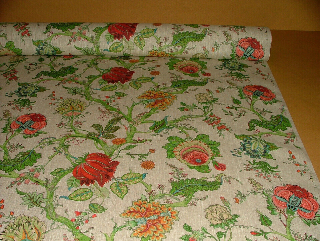 Jardins des Plantes Floral French 100% Linen Fabric Curtain Cushion Upholstery