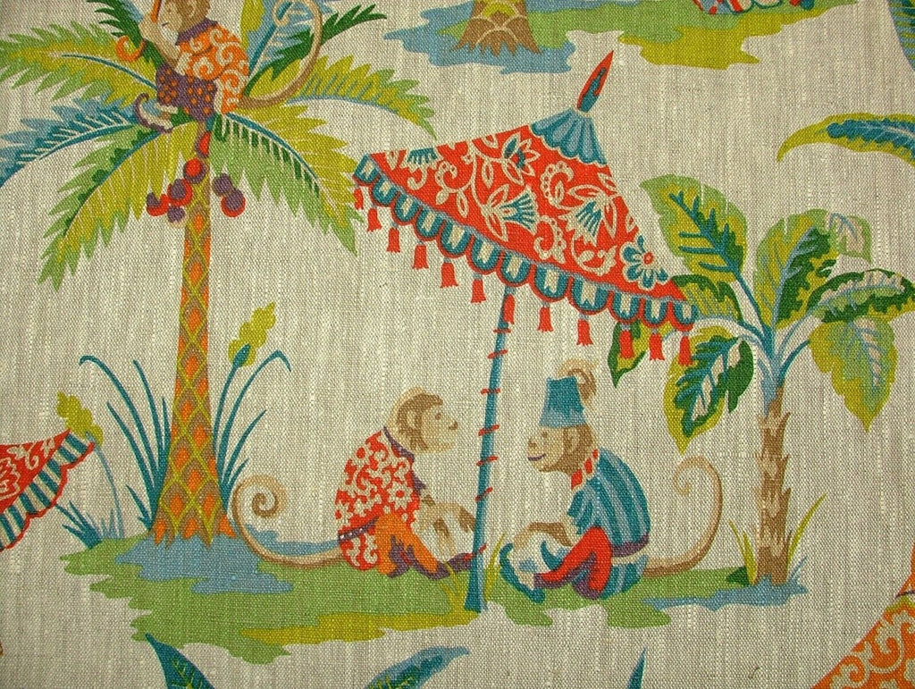 Monkey Parasol French 100% Linen Fabric Curtain Roman Blind Cushion Upholstery