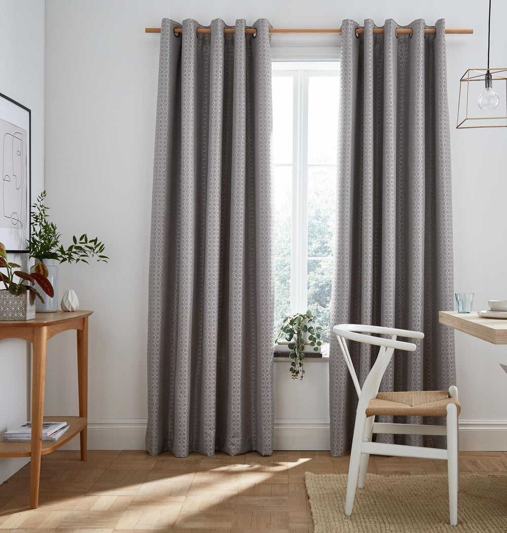 Flynn Silver Blackout Lined Eyelet Ready Made Curtains By Ashley Wilde Group