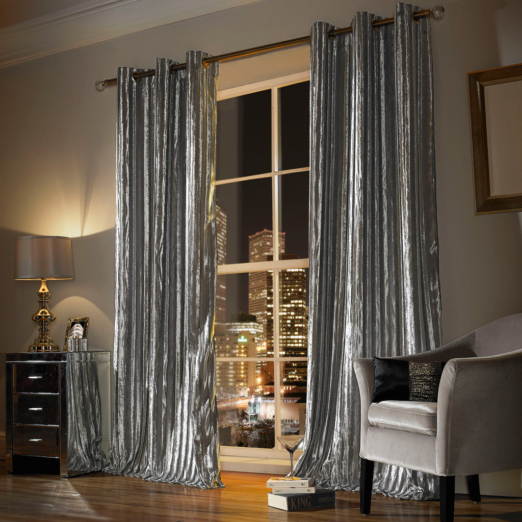 Iliana Silver Lined Eyelet Ready Made Curtains By Ashley Wilde Group