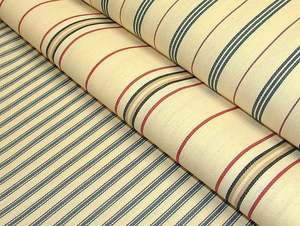 100% Cotton Woven Ticking Canvas Curtain Upholstery Premium Designer Fabric