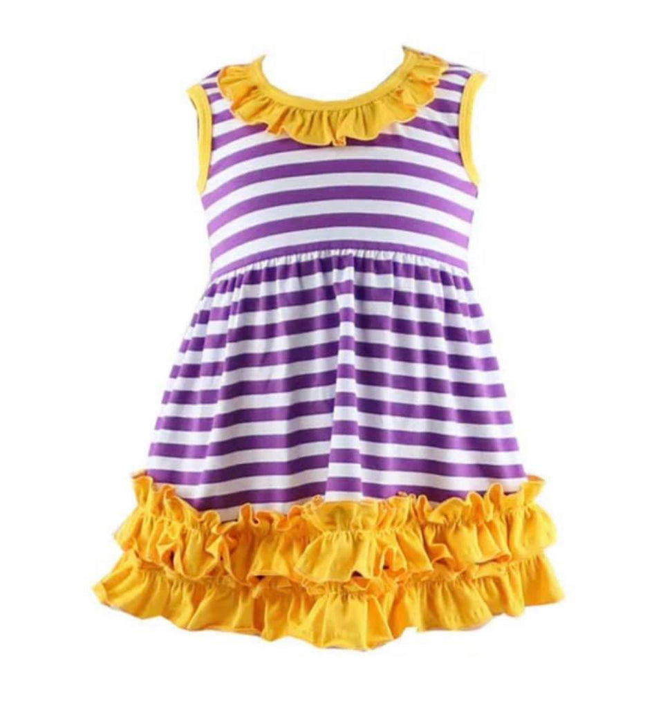 Purple and White Striped Dress