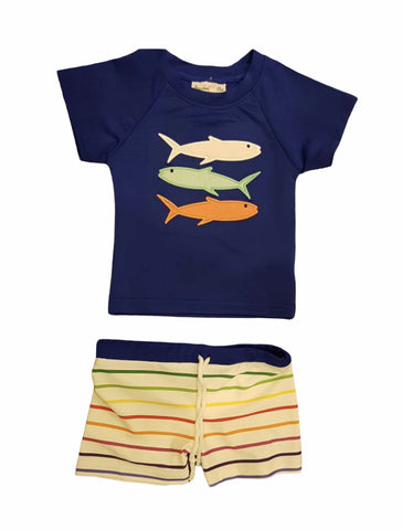 Rash Guard Swim Shirt with Shortie Shorts Swim suit