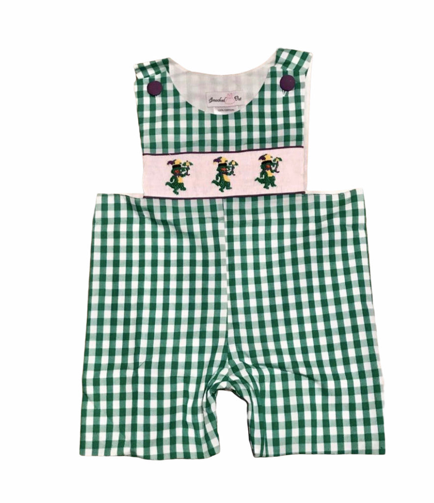 Smocked Mardi Gras Shortall