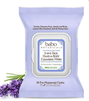 Babo Botanicals - 3-in-1 Calming Face, Hands & Body Wipes - Lavender & Meadowsweet