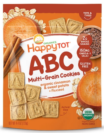 Happy Tot® Toddler Snack | CINNAMON & SWEET POTATO + FLAXSEED MULTI-GRAIN ABC COOKIES - 8 Bags