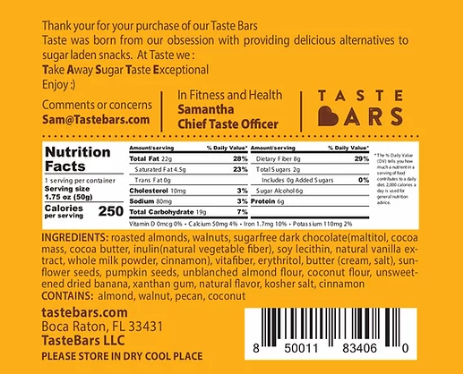 TASTE Bars - Case of 12 - Variety of Flavors