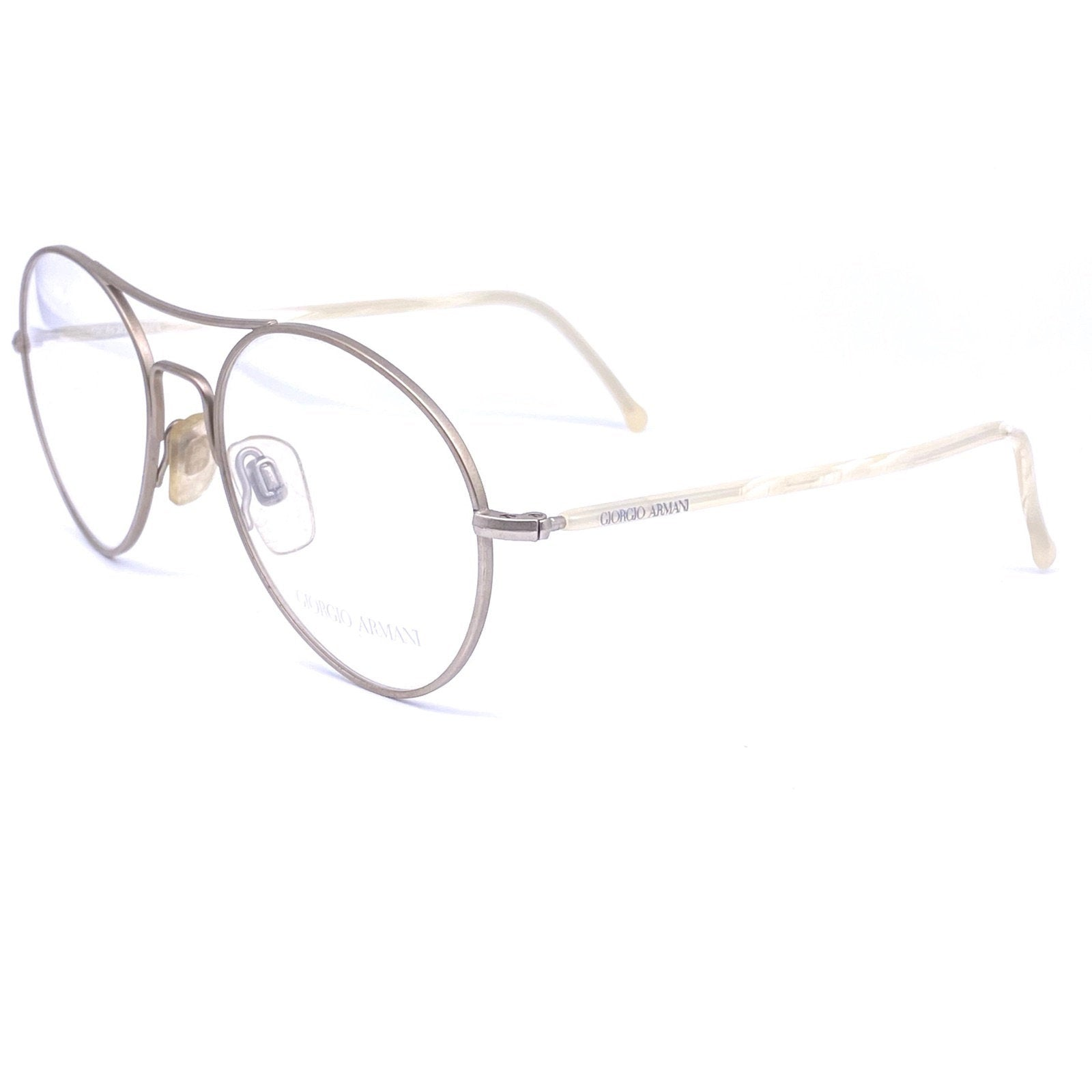 Giorgio Armani round aviator glasses frames, silver metal marbled temples, 80s NOS - viceversashop