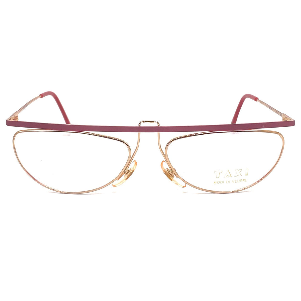 Taxi by casanova modernist flat top red/gold eyeglasses frames,1980s nos - viceversashop